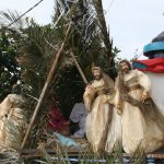 A family built nativity scene in Glossa village